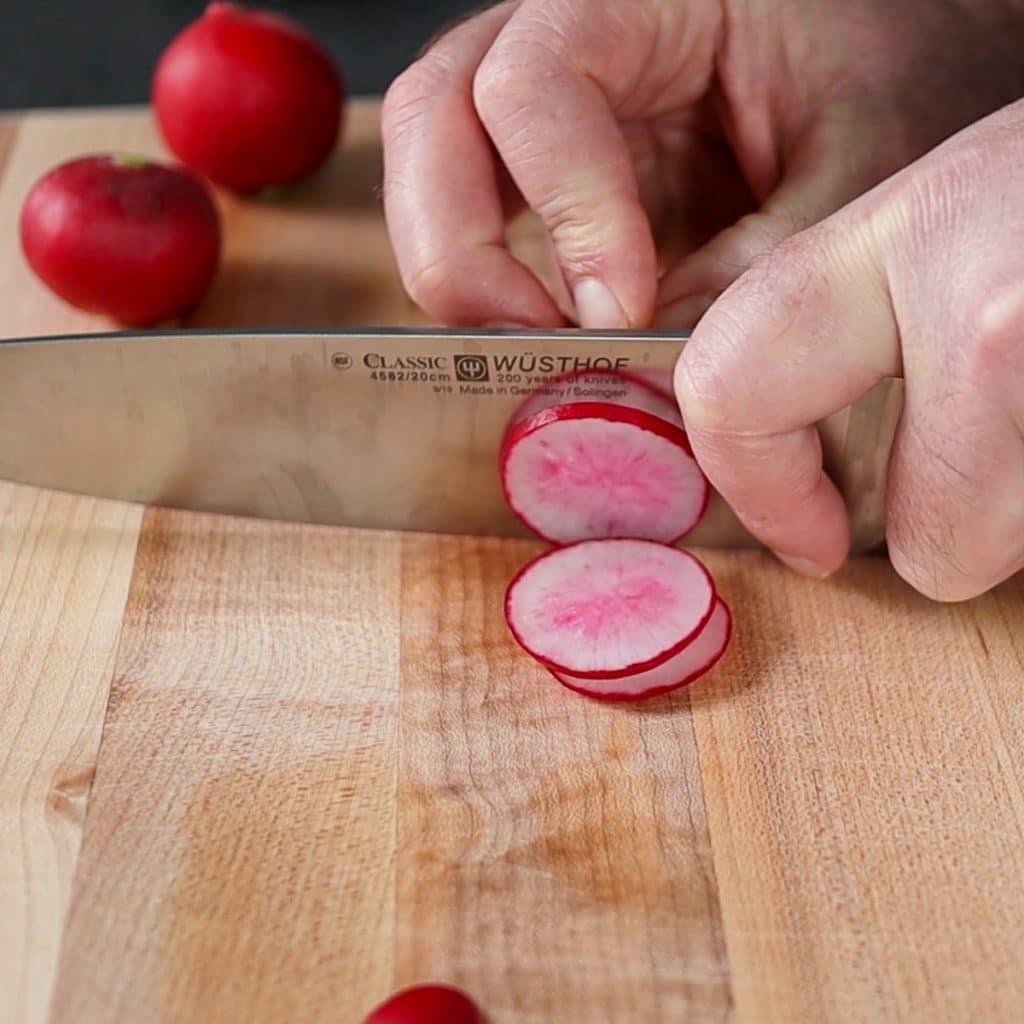 slicing the radish