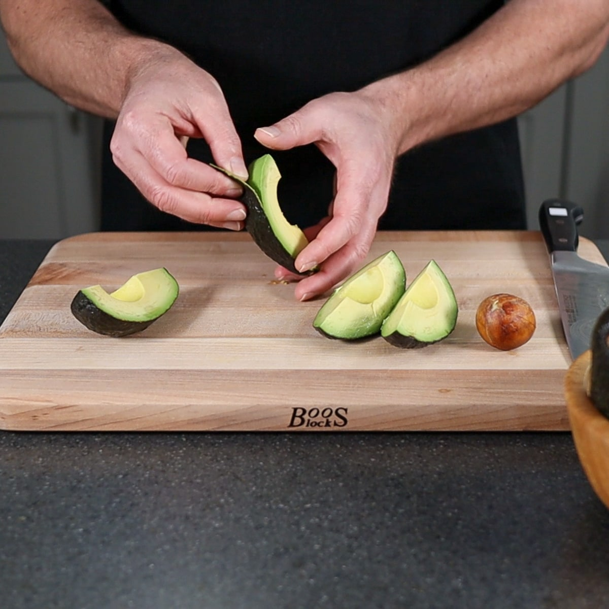peeling avocado skin