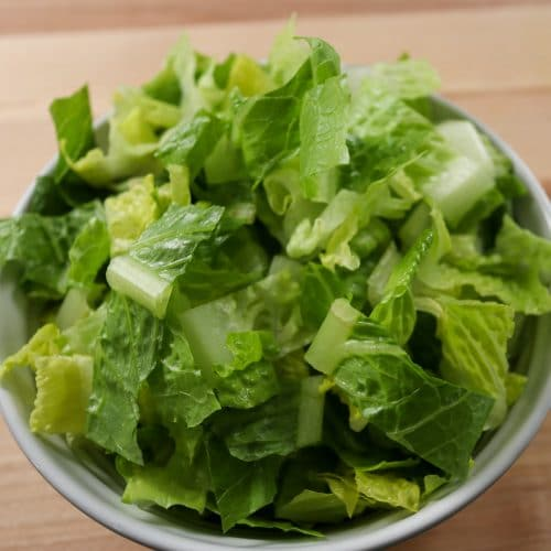Romaine lettuce in a bowl