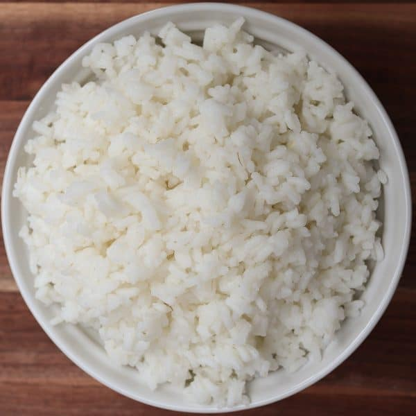 white rice cooked in a bowl from the stove top