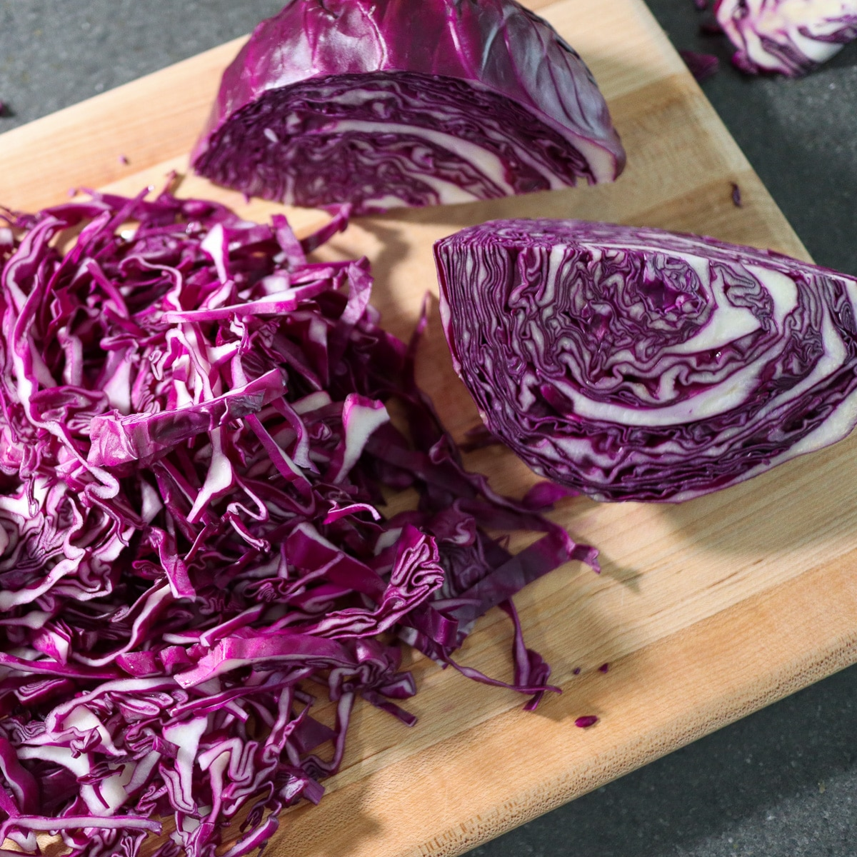 cabbage cut on a cutting board