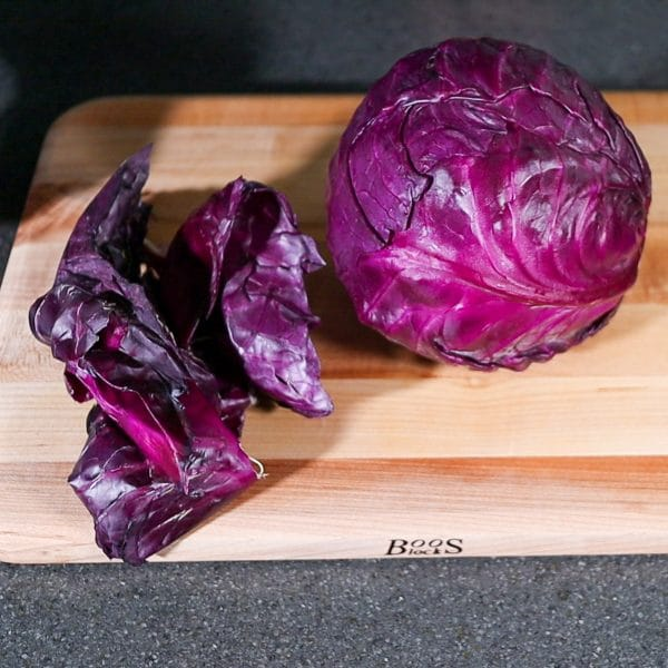 removing the outer layer of a cabbage