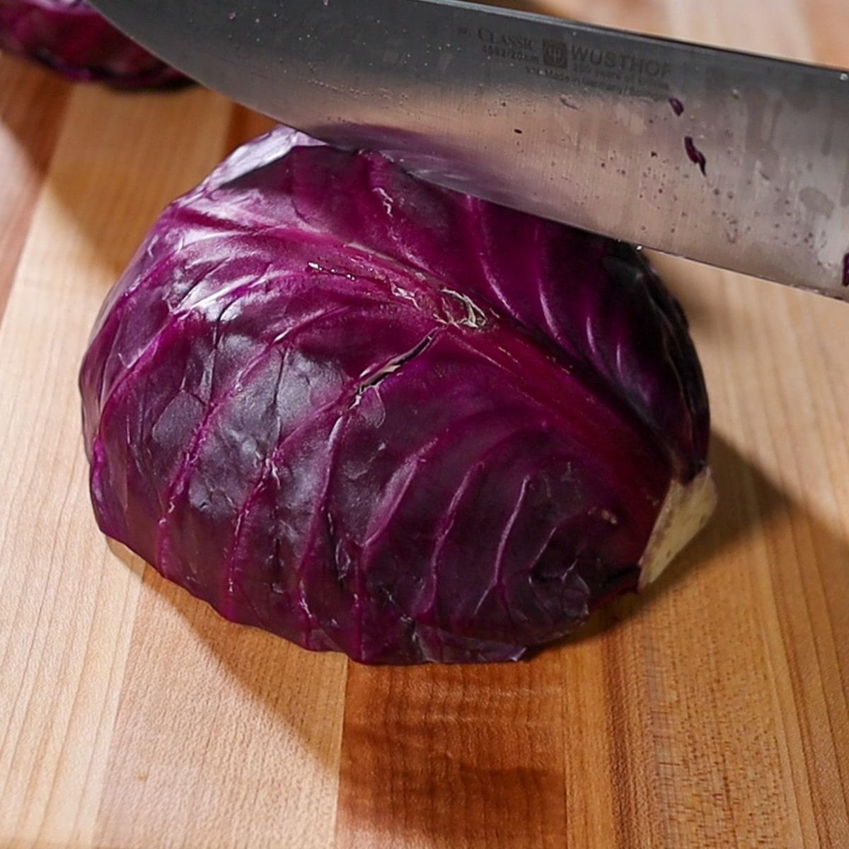 cutting cabbage in quarters