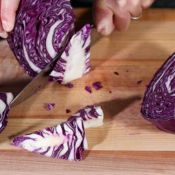 cutting the core out of the cabbage