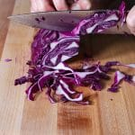 cabbage being cut