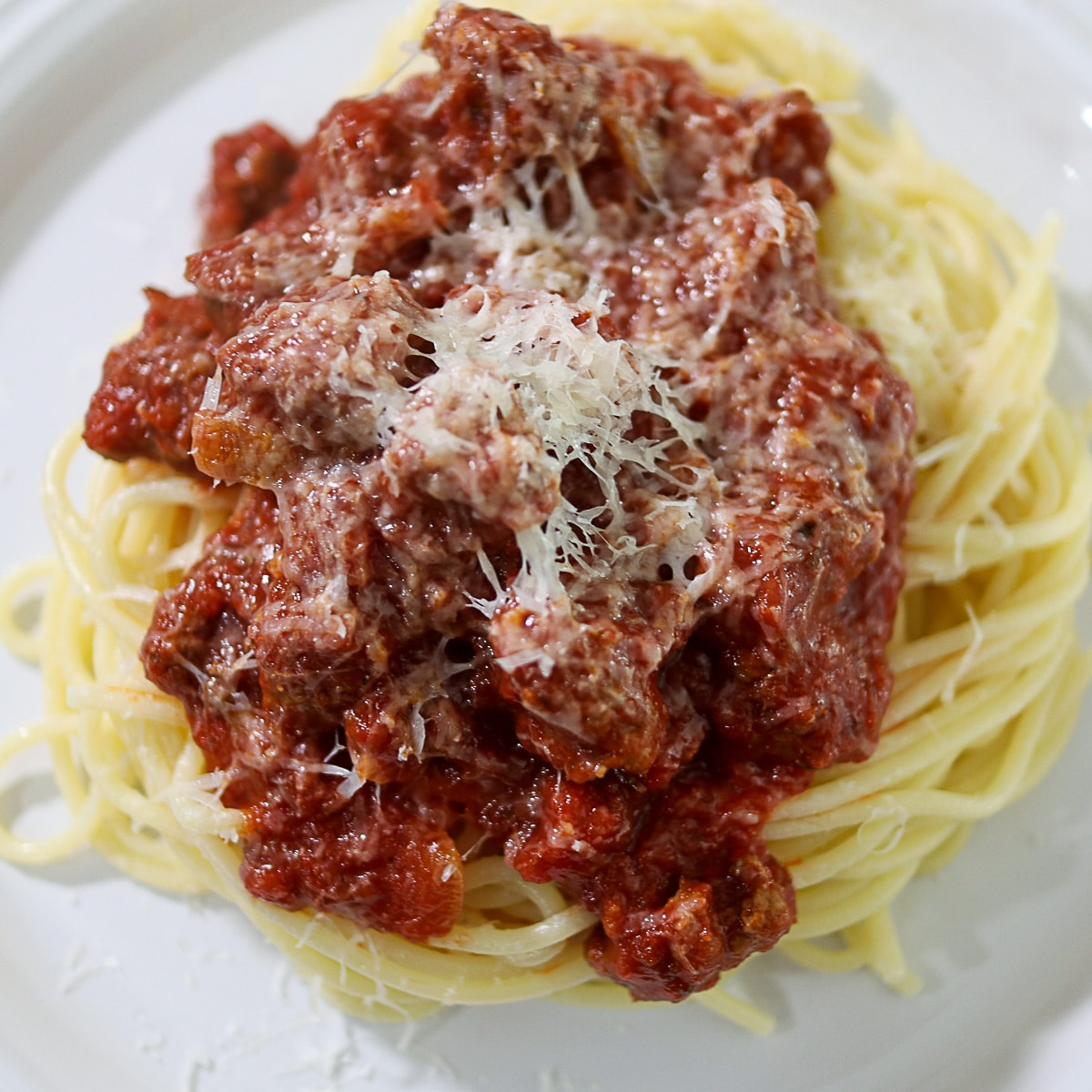 best spaghetti meat sauce on a plate