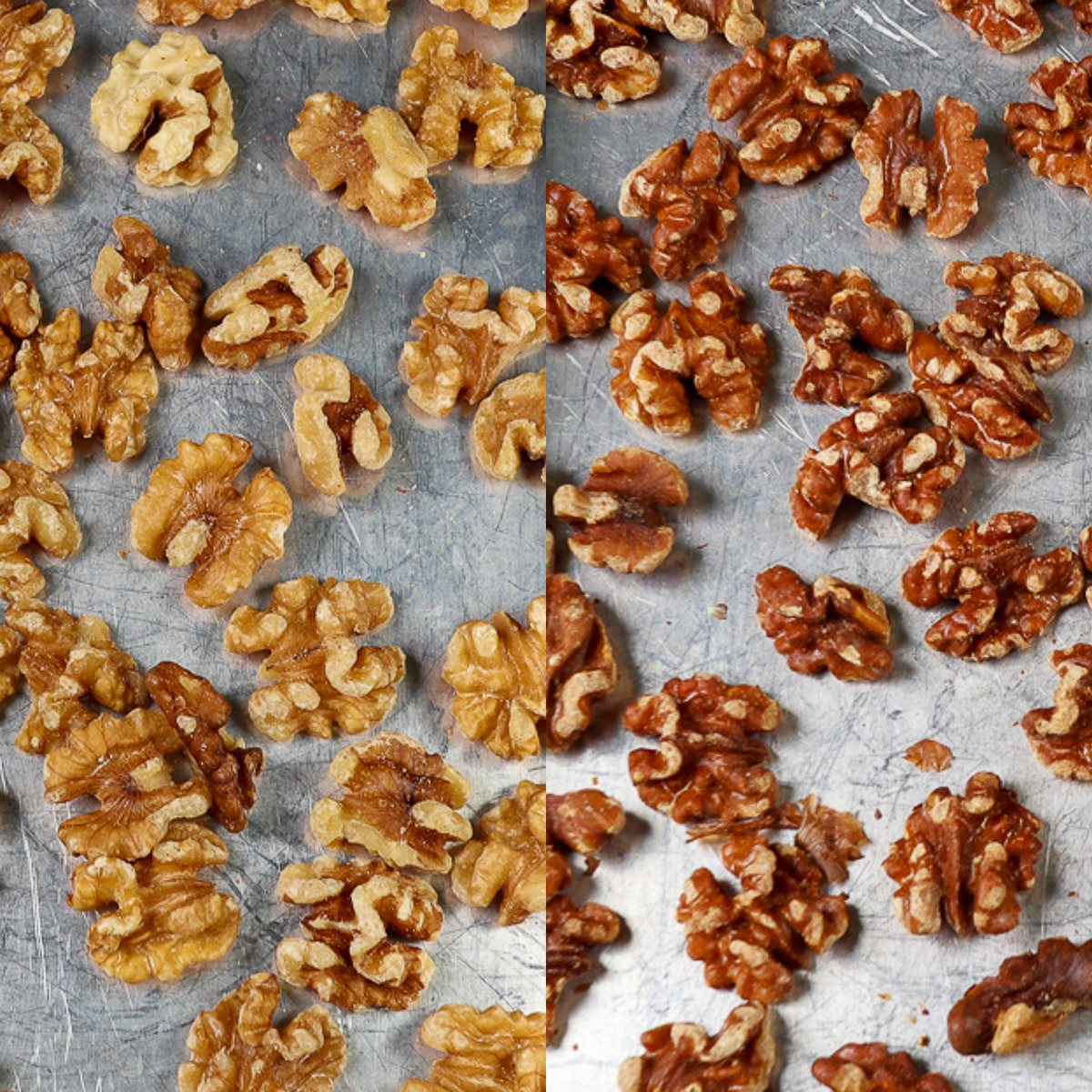 how to toast walnuts, comparison of toasted nuts