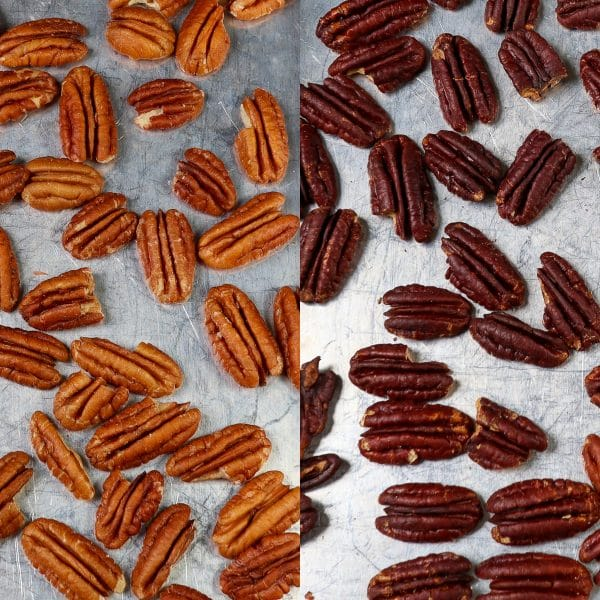 raw and toasted pecans compared