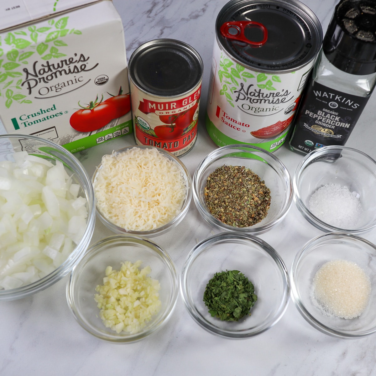 ingredients gathered for a meatball sub sauce
