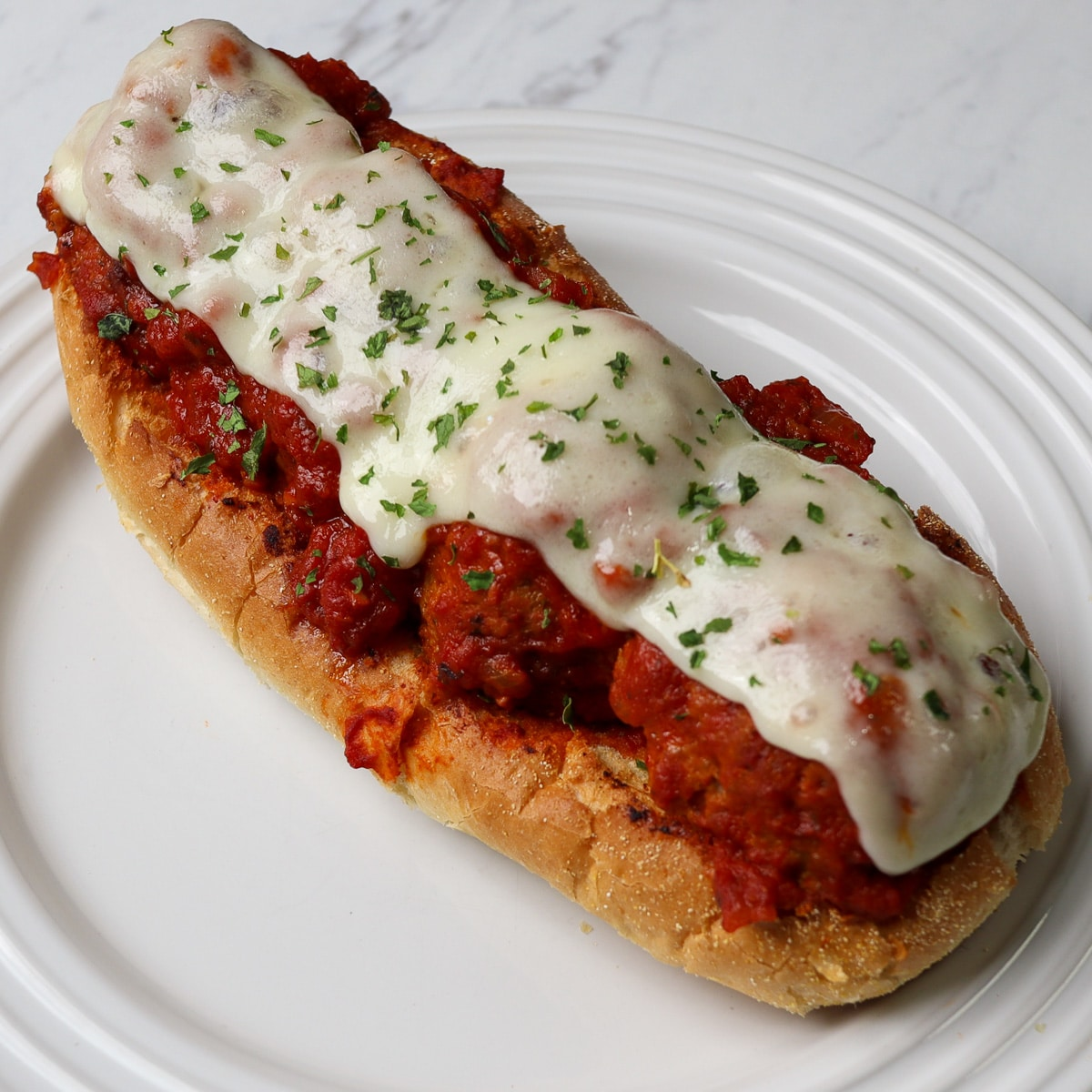 meatball sub on a plate