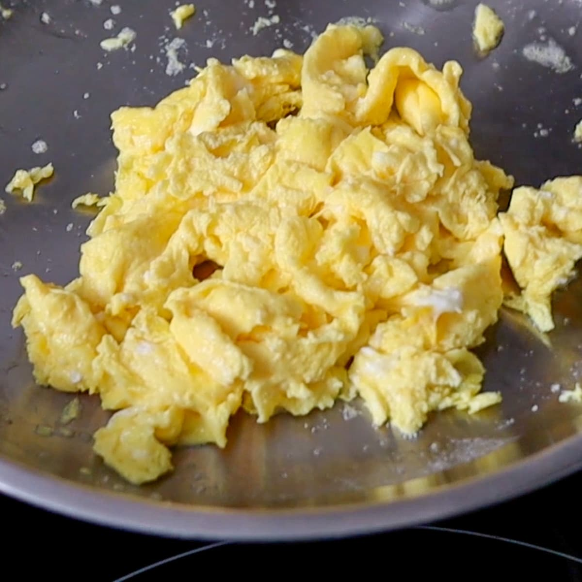 scrambled eggs in a pan