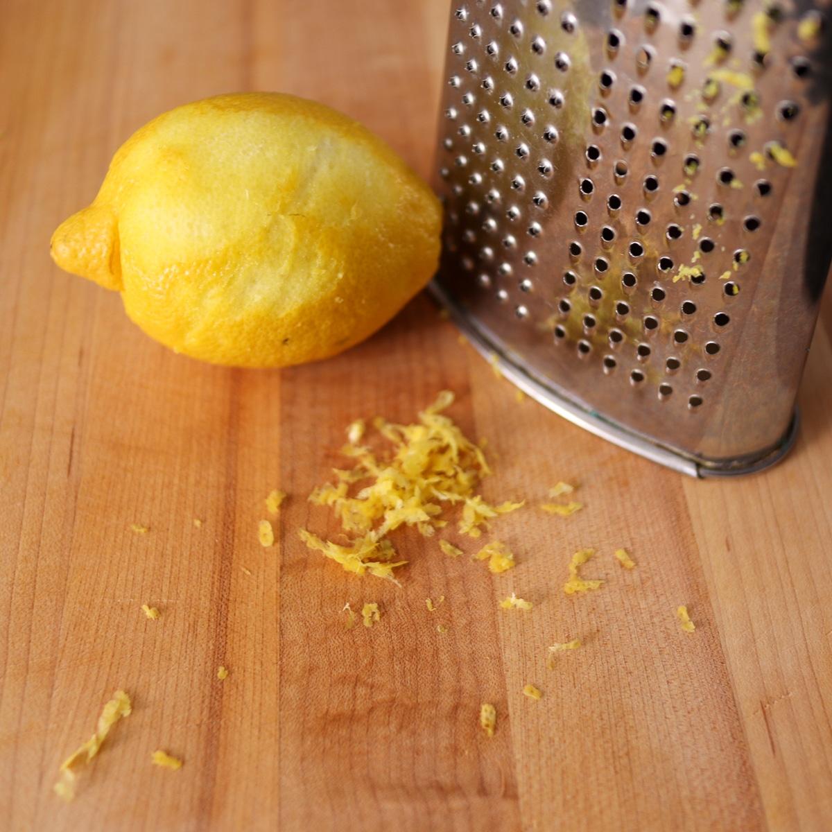 lemon zest with a box grater