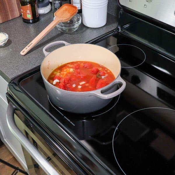 homemade tomato soup on stove