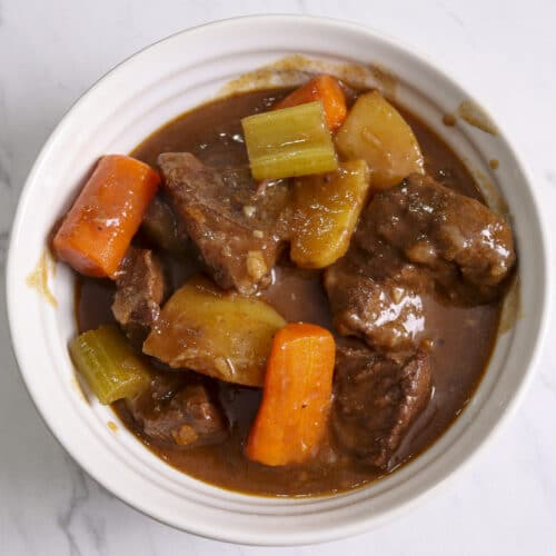 Dutch oven beef stew in a bowl