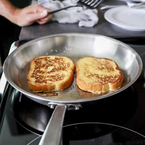 cooking the French toast for one.