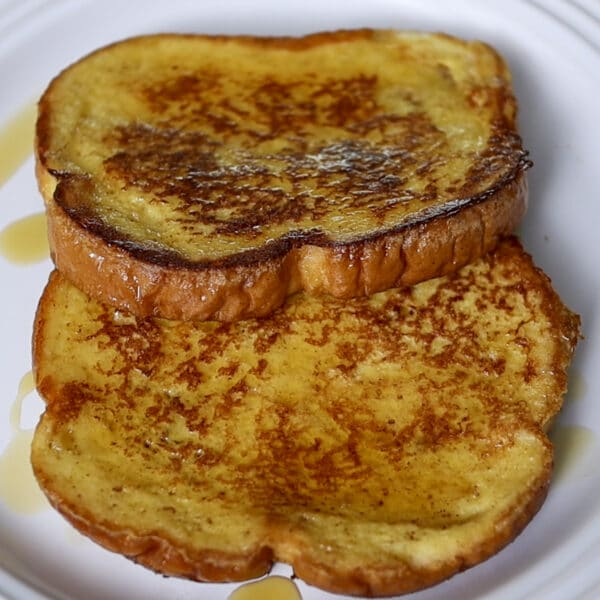French toast with syrup on a plate