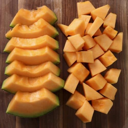 how to cut a cantaloupe slices and chucks
