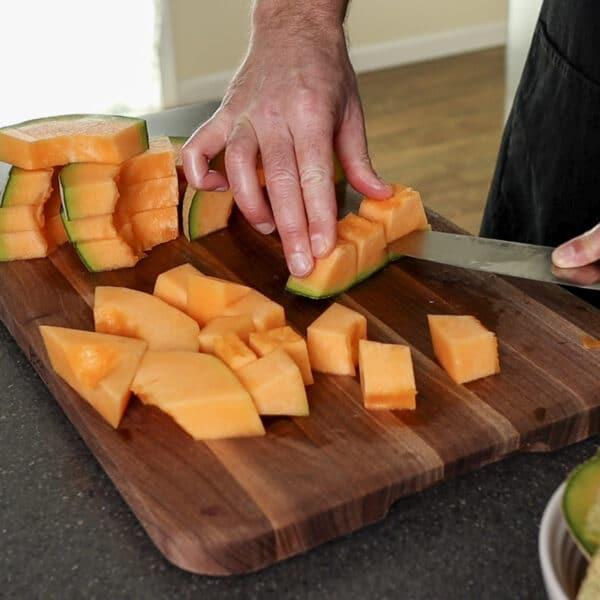 cutting cantaloupe