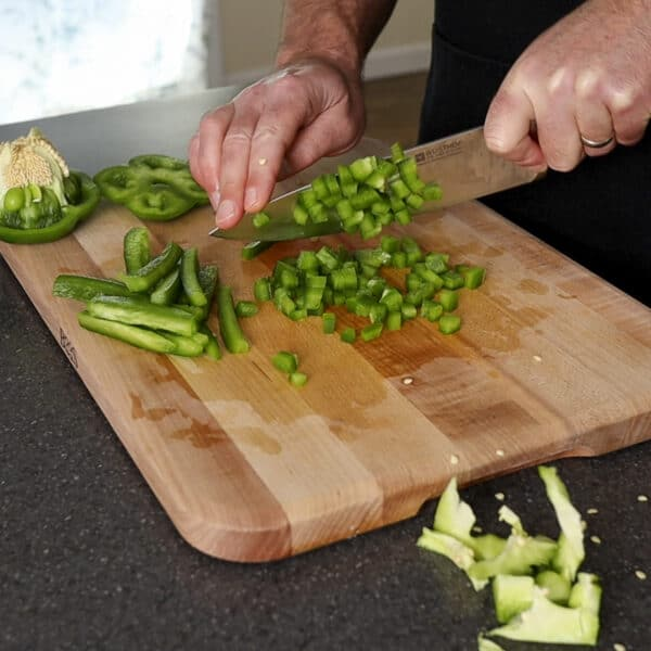 dicing the bell pepper