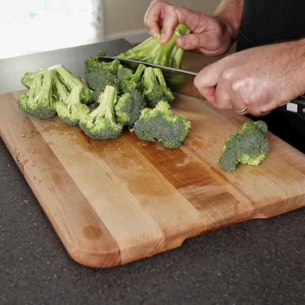 cutting broccoli stem