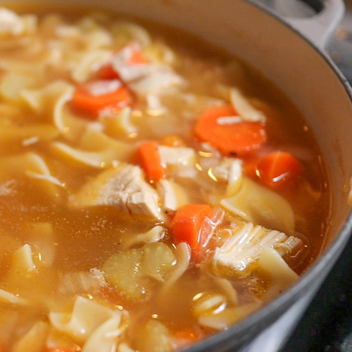 pan of chicken noodle soup