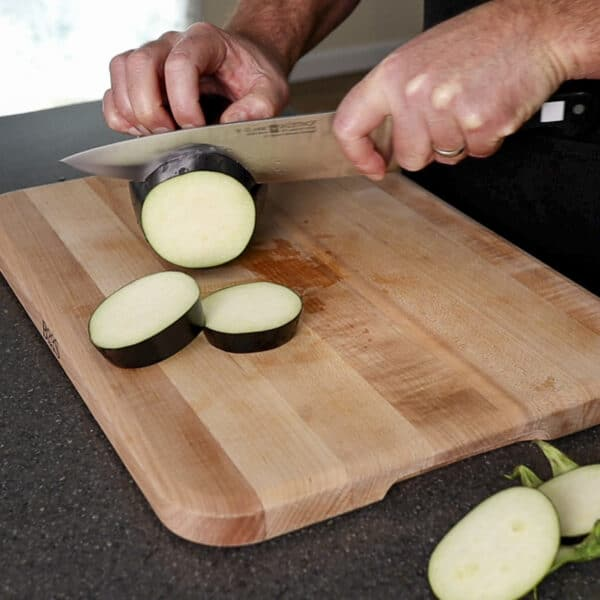 cutting eggplant rounds