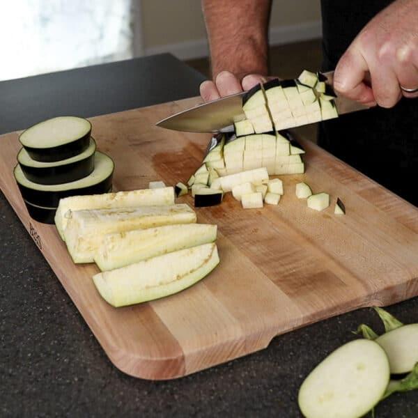 dicing eggplant