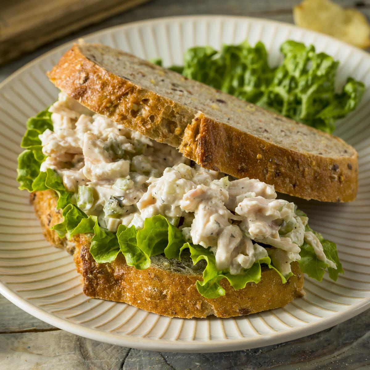 chicken salad sandwich on a plate