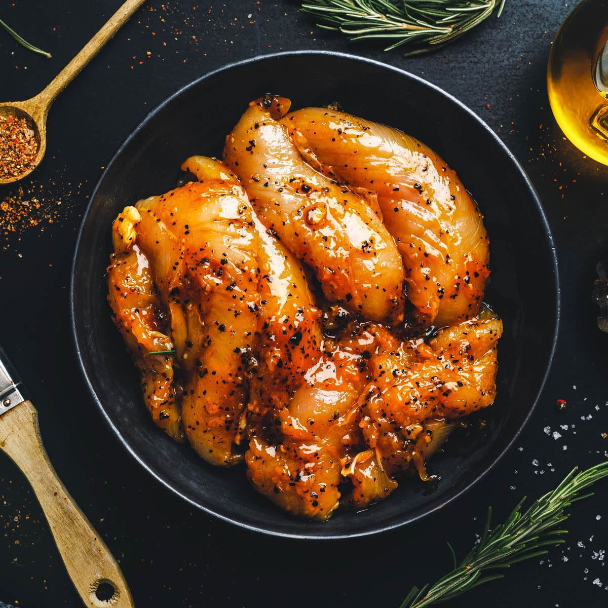 marinated chicken in a bowl