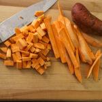 sweet potatoes cut on a board