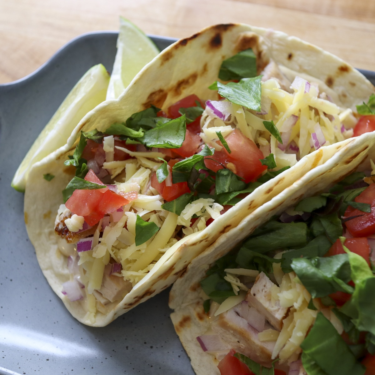 grilled chicken tacos on a plate